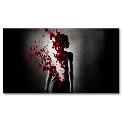 Αφίσα (μαύρο, λευκό, άσπρο, τριαντάφυλλο, γυναίκα, πέταλα)